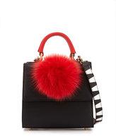 Les Petits Joueurs Handbags Alex Mini Leather Fur-Pom Bag, Black/Red