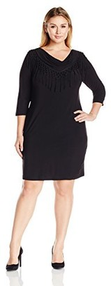 MSK Women's Plus Size Solid Black Cowl Neck Fringe Three Quarter Length Sleeve Dress 2X