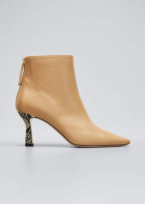 Wandler Lina Leather Snake-Heel Booties