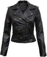 Brandslock Ladies Real Leather Biker Jacket Fit Style Vintage (Medium)