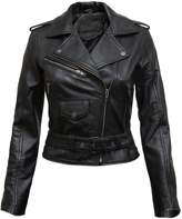 Brandslock Ladies Real Leather Biker Jacket Fit Style Vintage