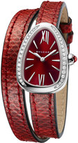 Bvlgari Serpent Twist Steel Snakeskin Wrap Watch with Diamonds