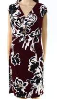Lauren Ralph Lauren Women's Floral Jersey V-Neck Dress (8, Red/Tan/Multi)