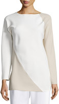 Shamask Spiral Colorblock Long-Sleeve Top, Ivory/Tan