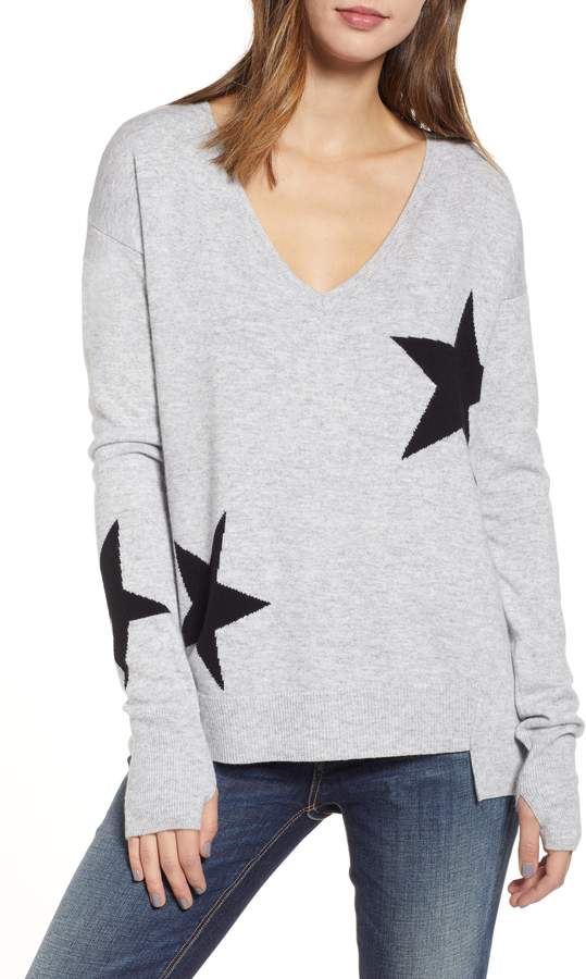 Pam & Gela Star Intarsia V-Neck Sweater