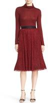 Alice + Olivia Mikaela Pleat Lace Midi Skirt