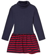 Petit Bateau Navy and Red Stripe Polo Neck Dress