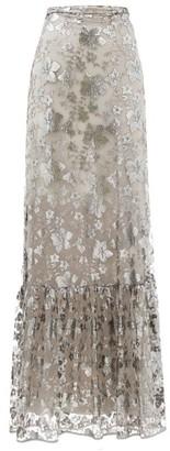 Erdem Viviane Floral-embroidered Mesh-overlay Maxi Skirt - Silver