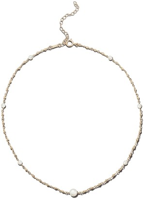 Mizuki Wrapped Akoya Pearl and Bead Chain Necklace - Yellow Gold
