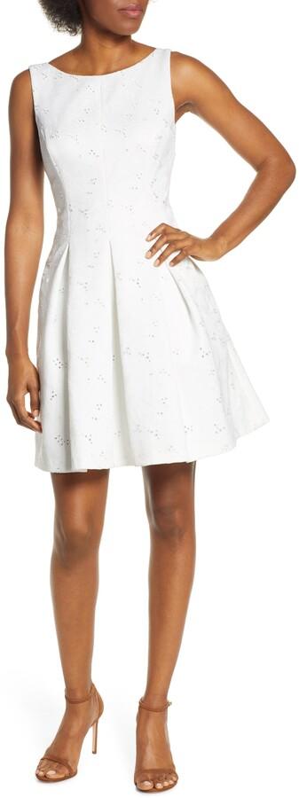 Eliza J Eyelet Embroidered Fit & Flare Dress