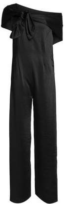 Paper London One-shoulder Knotted Satin Jumpsuit
