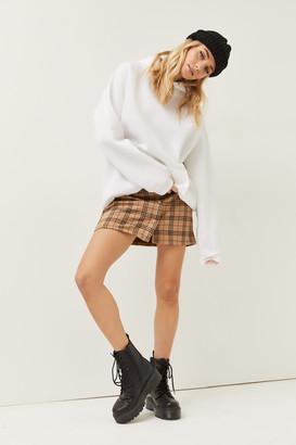 Ardene Faux Suede Plaid Mini Skirt