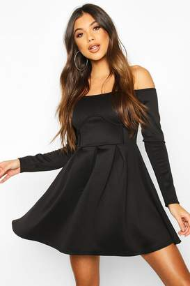boohoo Off The Shoulder Pleated Skater Dress