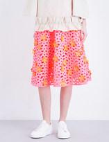 Paskal Laser-cut A-line satin skirt