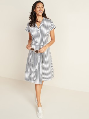 Old Navy Striped Tie-Belt Cap-Sleeve Shirt Dress for Women