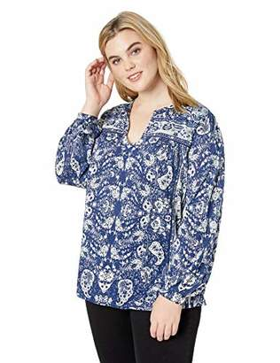 Lucky Brand Women's Plus Size Peasant TOP with Trim Detail