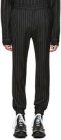 Juun.J Black Pinstripe Cuff Trousers