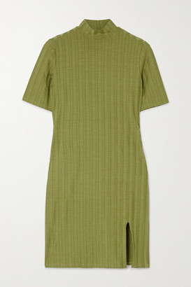 Reformation Net Sustain Dua Ribbed Stretch-tencel Mini Dress - Green