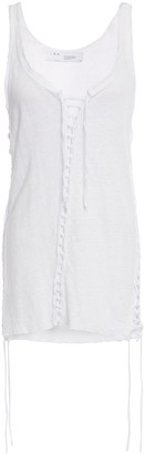 IRO Lace-up Distressed Linen-jersey Tank