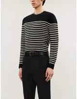 The Kooples Striped Button-Embellished Wool Jumper