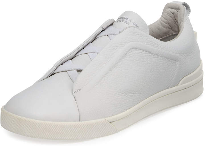 Ermenegildo Zegna Men's Couture Triple-Stitch Leather Low-Top Sneakers, White