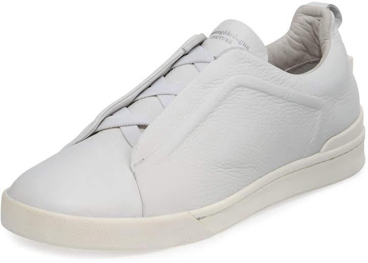 Ermenegildo Zegna Men's Couture Triple-Stitch Leather Low-Top Sneakers White