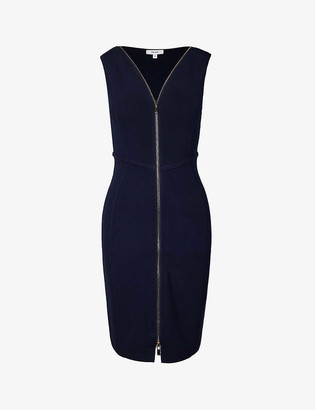 Reiss Eva zip stretch-twill bodycon mini dress