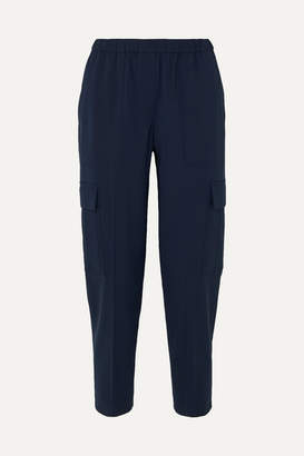 Theory Cropped Stretch-wool Tapered Pants - Navy