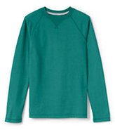 Classic Little Boys Long Sleeve Raglan Solid Tee-Indigo Sky