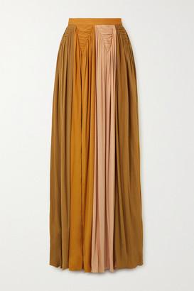 Roksanda Adina Pleated Color-block Jersey Maxi Skirt - Gold