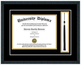 "Perfect Cases, Inc. Single Diploma Frame w/ Tassel & Double Matting, Classic Black, 8""x10"""