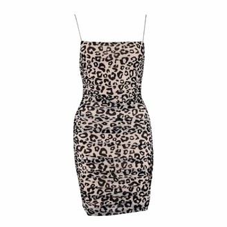 Valin Women Beige Leopard Sleeveless Sheath Dress Ruched Slip Dress Sexy Bodycon Mini Dresses Party Cocktail Business D509 6