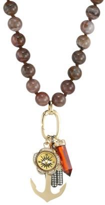 Sydney Evan Wood Bead & Diamond Charm Long Necklace
