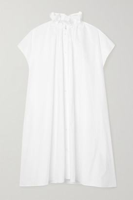 MM6 MAISON MARGIELA Oversized Gathered Cotton-poplin Dress - White