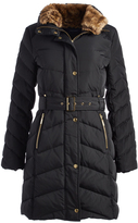 Cole Haan Black Faux Fur-Lined Puffer Coat