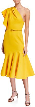 Oscar de la Renta Ruffled One-Shoulder Crepe Dress