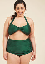 Esther Williams Bathing Beauty Two-Piece Swimsuit in Emerald in 6 - Skirted by from ModCloth