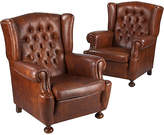 One Kings Lane Vintage French Tufted Wingback Chairs - Set of 2