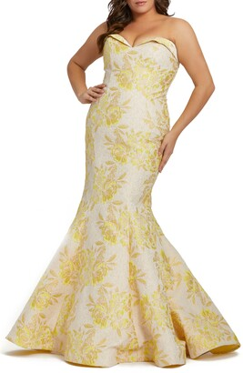 Mac Duggal Metallic Floral Brocade Strapless Mermaid Gown