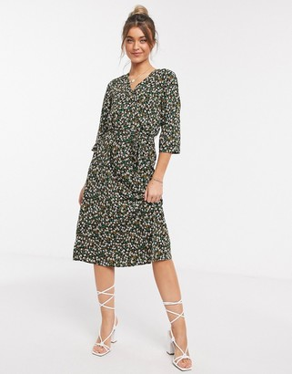 JDY midi dress with wrap detail in ditsy floral