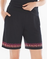 Soma Intimates Bermuda Pajama Shorts Frolic Embroidery Border Black