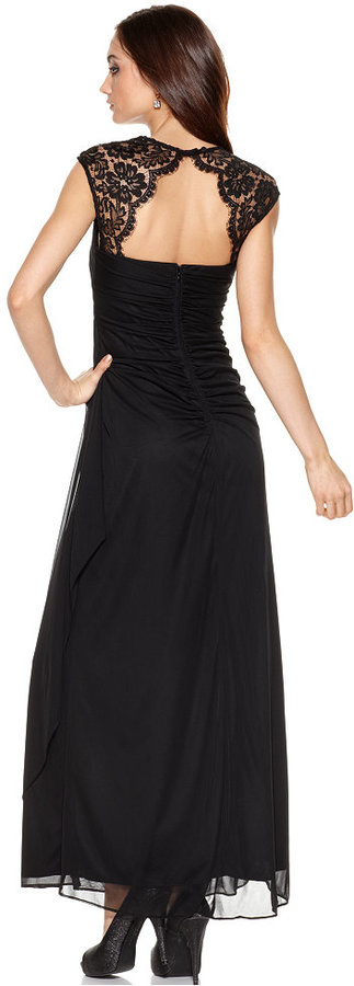 Xscape Evenings Cap-Sleeve Draped Gown and Shawl