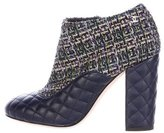 Chanel Quilted Tweed Ankle Boots