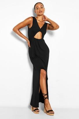 boohoo Tall Twist Front Maxi Split Leg Jersey Dress