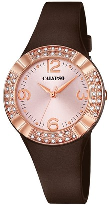 Calypso Women's Quartz Watch with Pink Dial Analogue Display and Brown Plastic Strap K5659/3