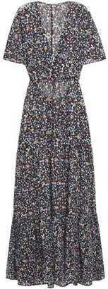 Stella McCartney Cutout Printed Cotton And Silk-blend Maxi Dress