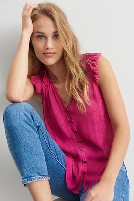 Anthropologie Gabbie Ruffled Blouse By in Pink Size XS