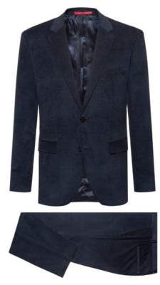 HUGO Regular-fit suit in cotton corduroy with jacquard lining