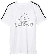 adidas Kids Kids Badge of Sport Ringer Tee (Big Kids) (White) Boy's Clothing