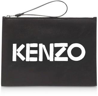 Kenzo Kontrast Black Leather Large Pouch